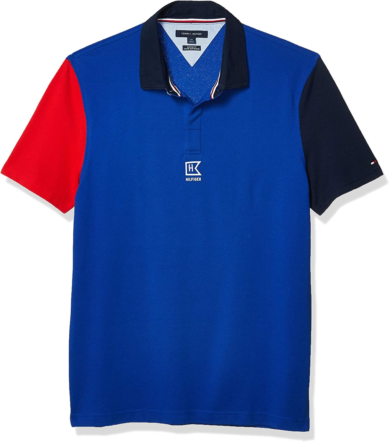 Tommy Hilfiger Mens Mens Short Sleeve Patterned Polo Shirt in Custom Fit Polo Shirt