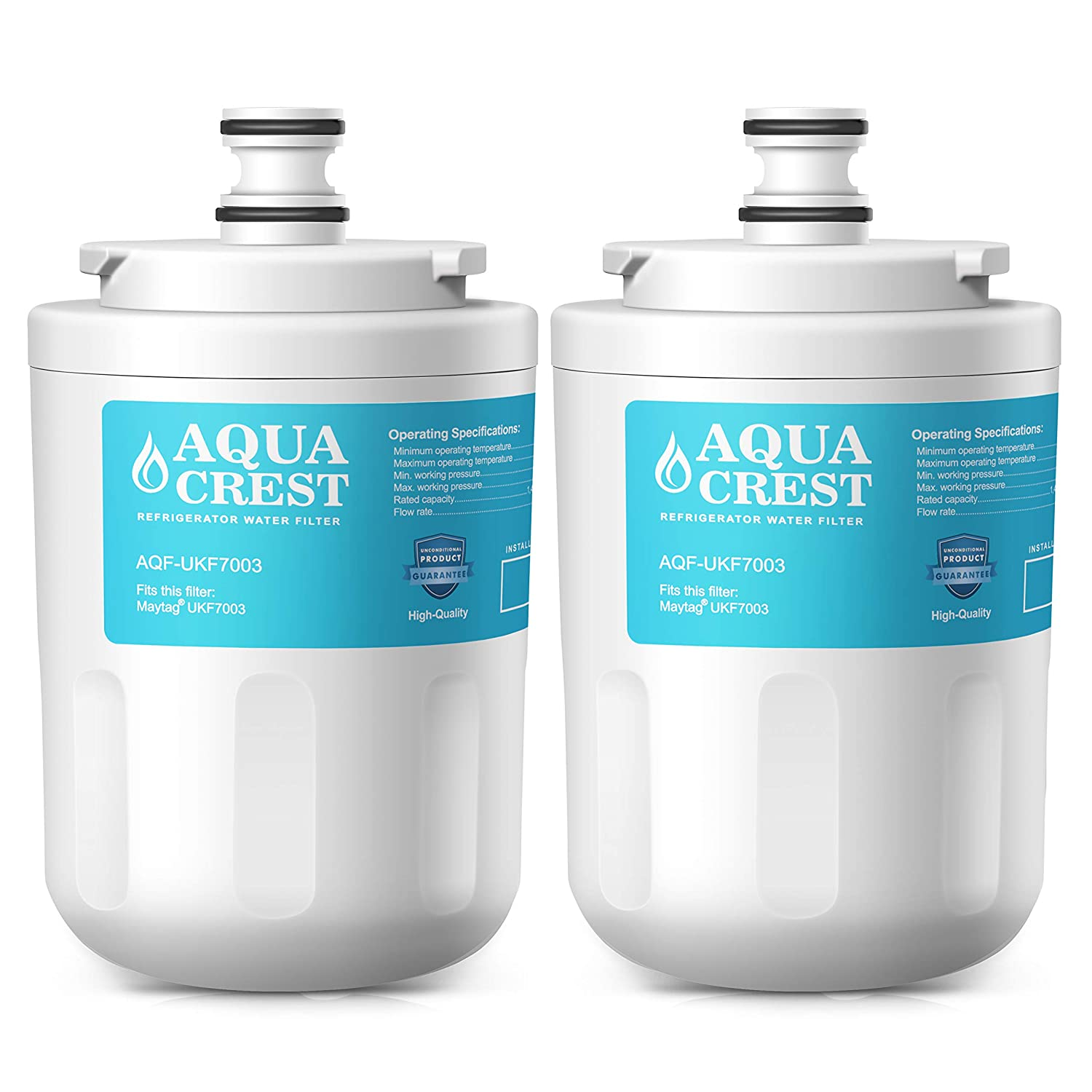 AQUACREST Replacement UKF7003 Refrigerator Water Filter, Compatible with Maytag UKF7003, UKF7002AXX WF288, Whirlpool EDR7D1, EveryDrop Filter 7 (Pack of 2)