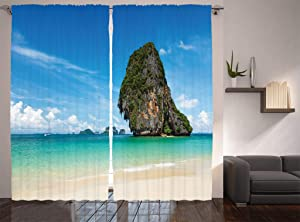 "Ambesonne Coastal Curtains, Tropical Beach White Sand Karst Rock Coast in Krabi Thailand Limestone Image, Living Room Bedroom Window Drapes 2 Panel Set, 108"" X 90"", Blue Aqua Ivory"