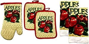 Kitchen Collection 5-Piece Kitchen Linen Set, Set Of 1 Oven Mitt, 2 Pot Holders and 2 Kitchen Towels, Value Pack Perfect For Gift, Great For Combining Fun And Color Into The Kitchen (Bushel of Apples)
