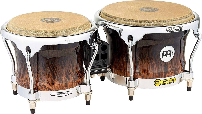 Meinl Percussion FWB400BB Free Ride Series Wood Bongos Brown Burl Finish