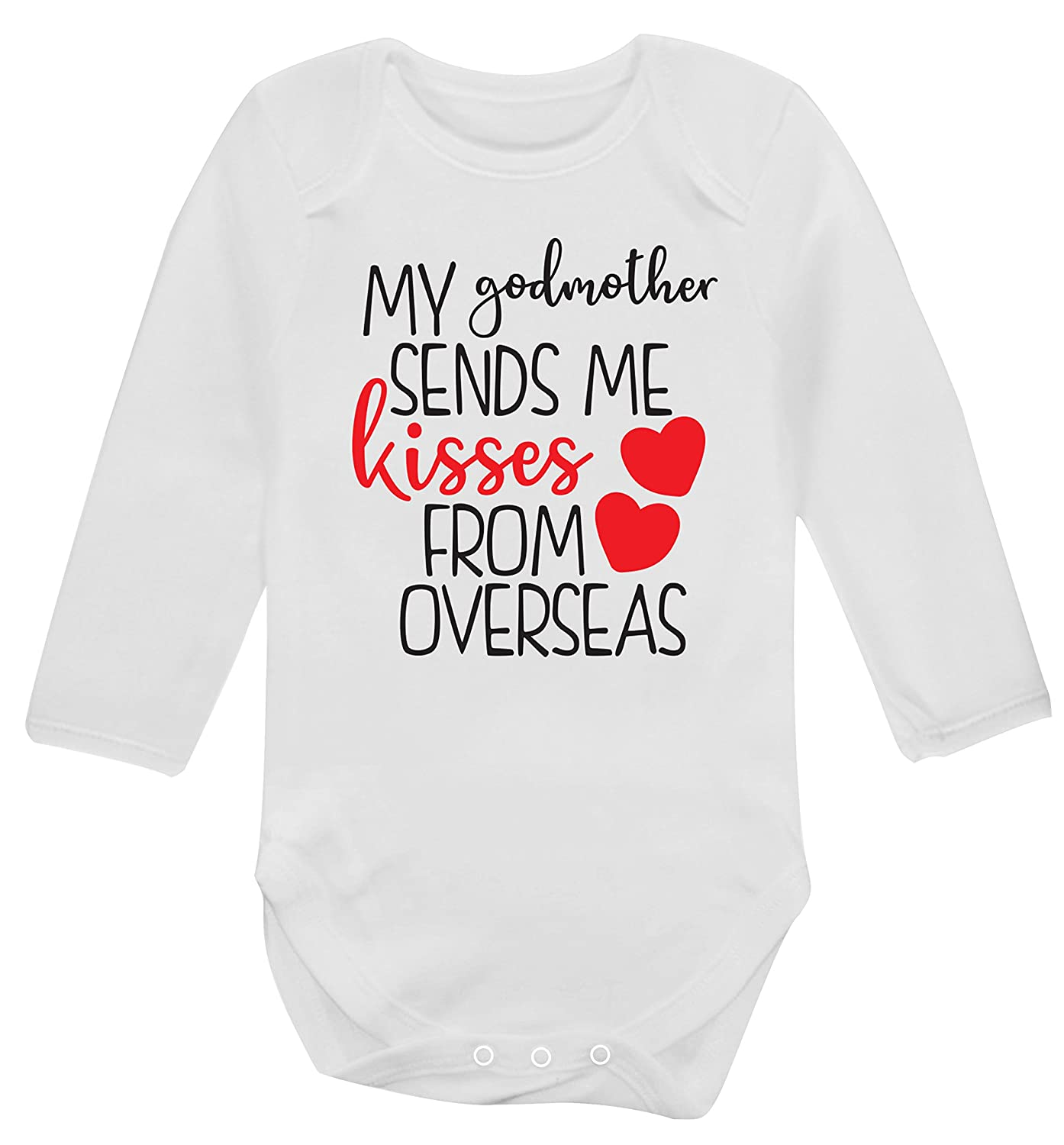 Flox Creative Long Sleeved Baby Vest My Godmother Sends me Kisses from Overseas