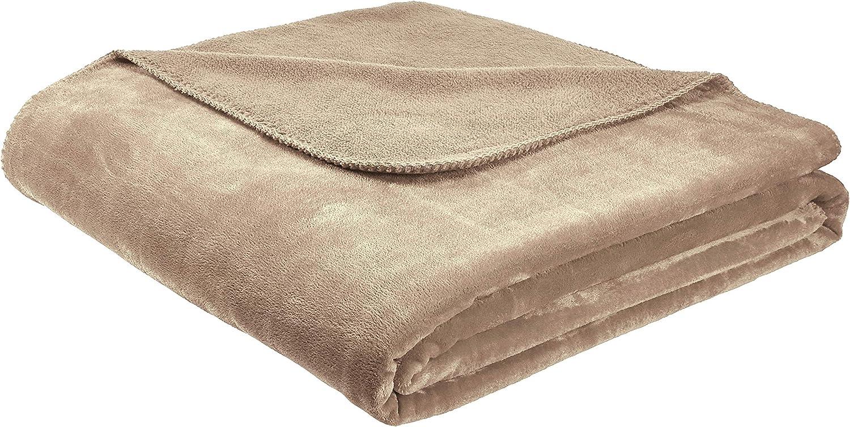 AmazonBasics Fuzzy, Micro Plush Fleece Blanket, All Seasons - King, Taupe