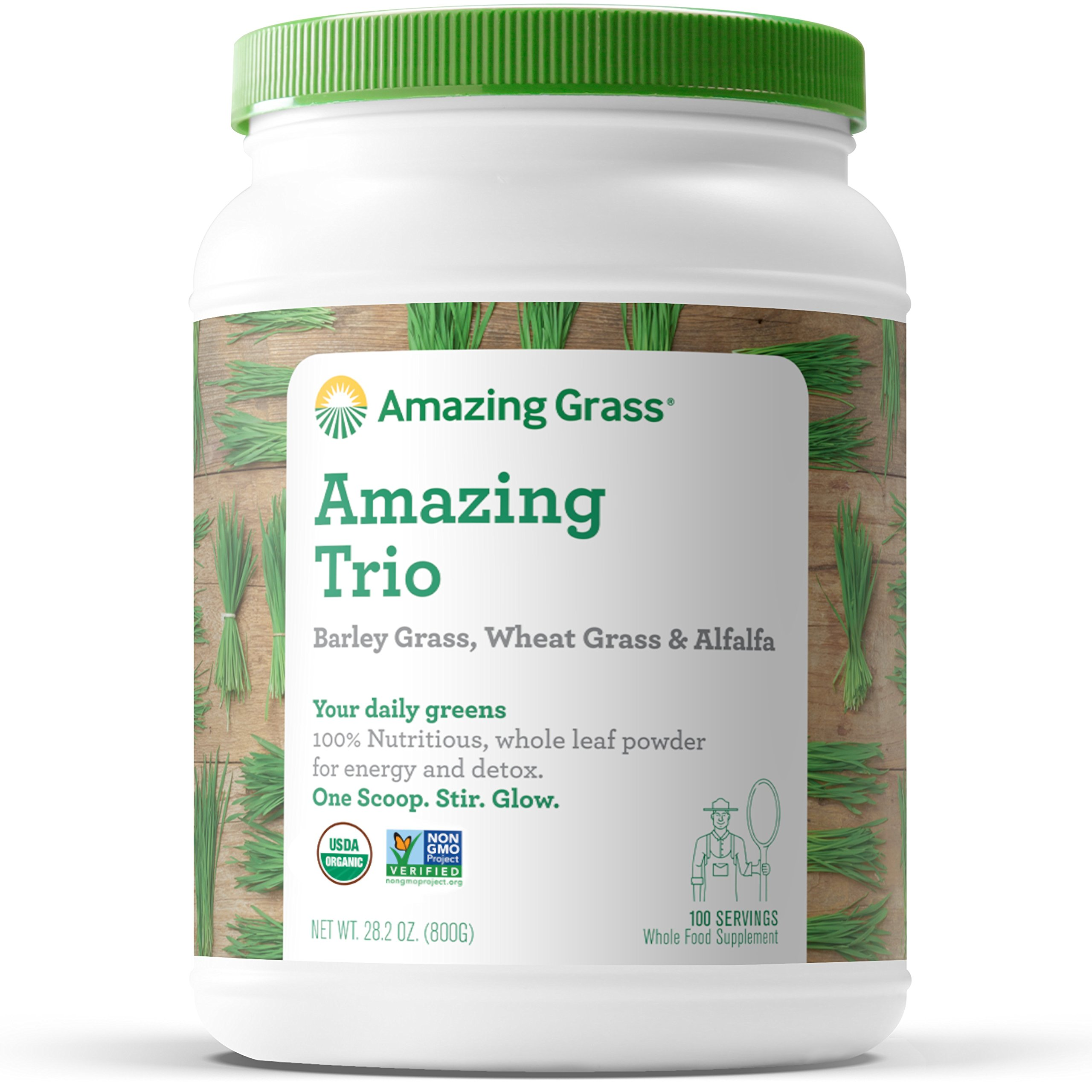 Amazing Grass Organic Amazing Trio Greens Powder with Wheat Grass, Barley Grass and Alfalfa, 100 Servings