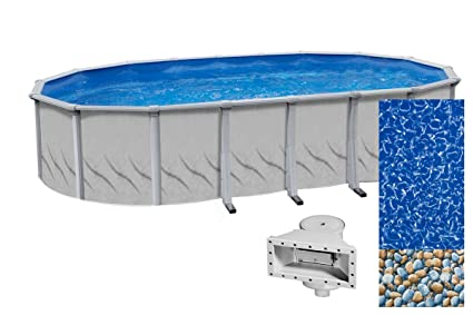 Wilbar Galeria 15-Foot-by-30-Foot Oval Above-Ground Swimming Pool | 52-Inch  Height | Resin Protected Steel-Sided Walls | Bundle with Bedrock 25 Gauge