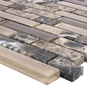 Mosaikfliesen Milos Glas Naturstein Mix Braun Verbund | Wand Mosaik |  Mosaik Fliesen |