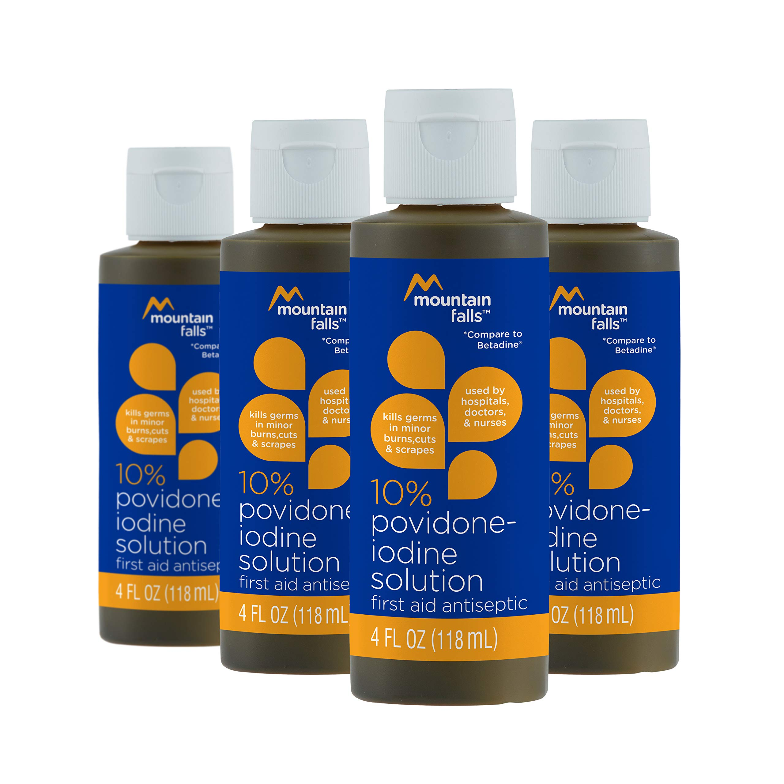 Mountain Falls 10% Povidone Iodine Solution First Aid Antiseptic for Minor Burns, Cuts, and Scrapes, Compare to Betadine, 4 Fluid Ounce (Pack of 4)