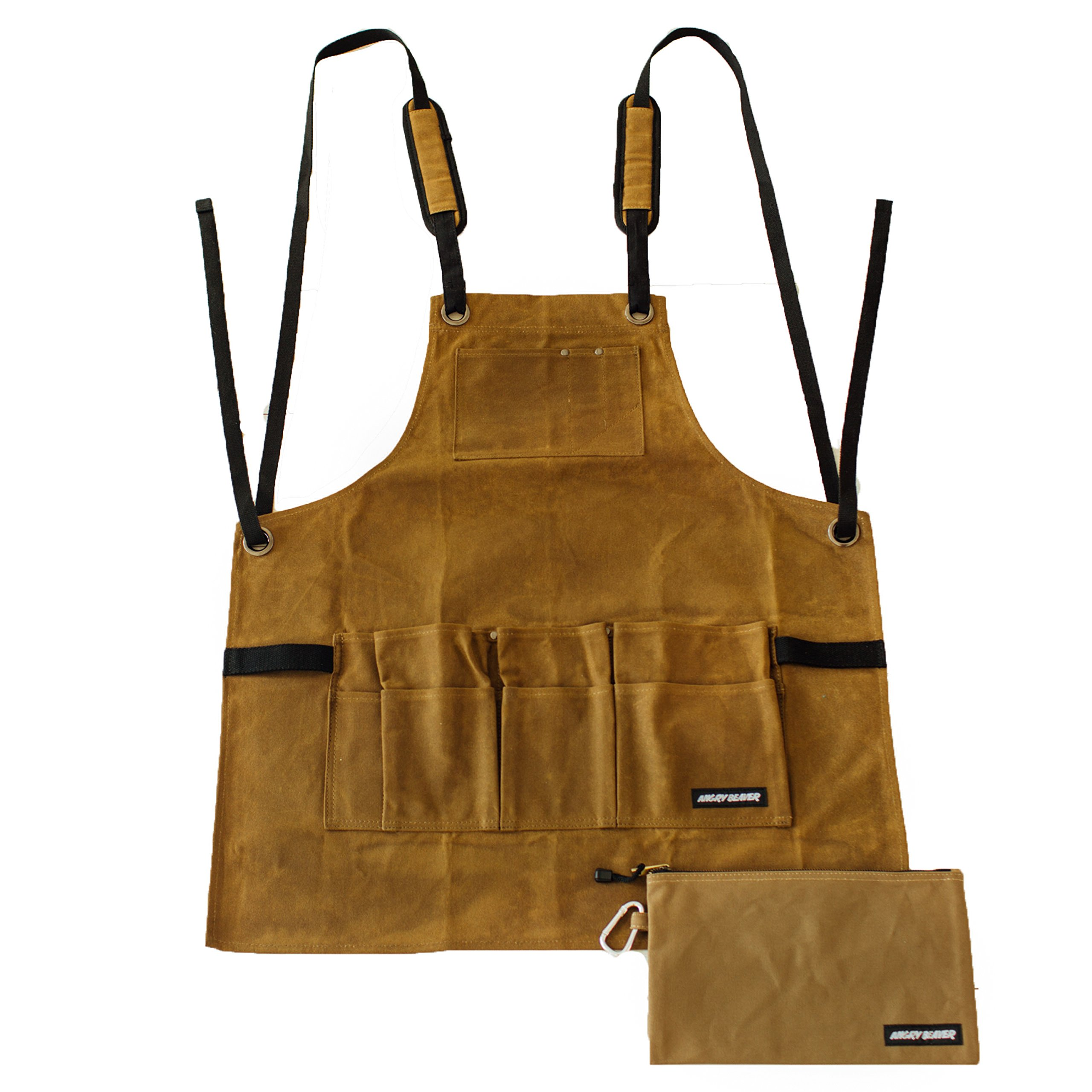 Work Shop Apron by Angry Beaver | BONUS Canvas Zipper Tool Pouch | Heavy Duty Utility Waxed Canvas Bib Apron with Tool and Chest Pockets | Tool Apron Cross-Back Straps & Adjustable M to XXL