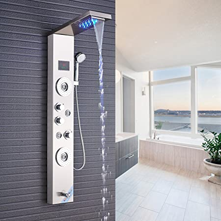 Senlesen Stainless Steel Shower Panel Tower System, LED Rainfall Waterfall  Shower Head 5 Function Faucet Rain Massage System With Body Jets  Fingerprint Free ...