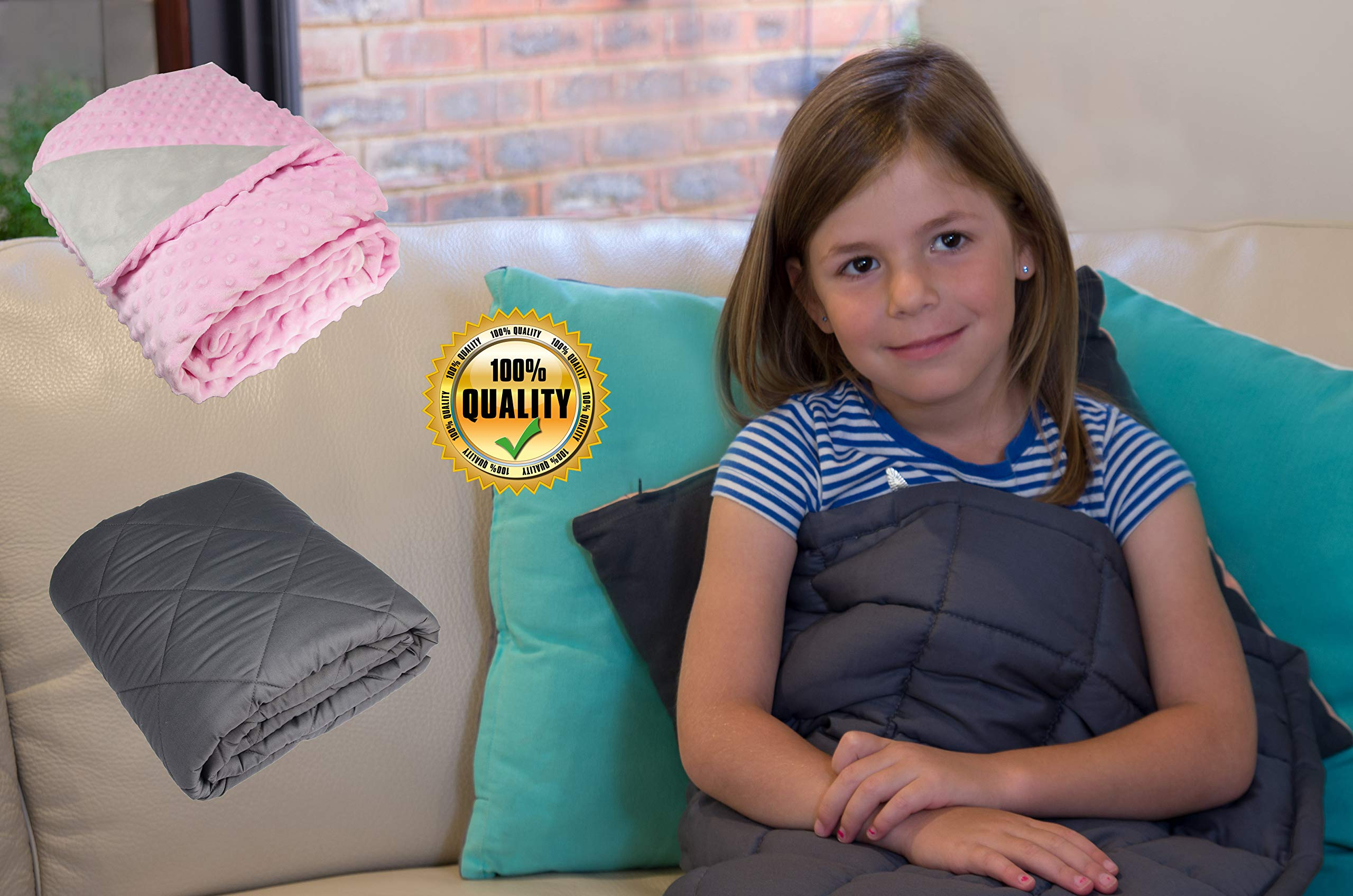 Bel Regalo Weighted Blanket for Kids-Heavy Blanket for Children, Cotton Grey Blanket with Soft Plush Minky Cover (Pink 5lb 36'' W x 48'' L) by Bel Regalo