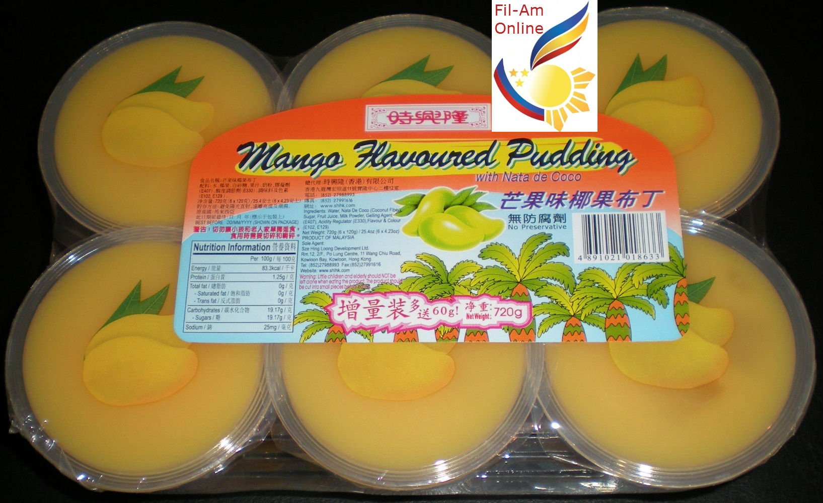 Mango Flavoured Pudding Pack of 6 with Nata de Coco 720g