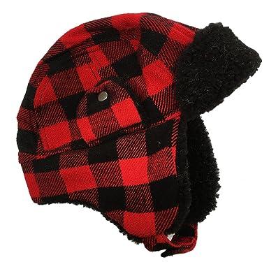 0a97a0cd47874 Brand New Kids Boys Trapper Hat Kids Check Design Winter Hats (Red Black  Trapper Hat