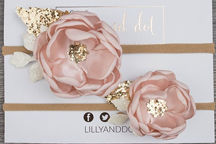 Blush Pink Rose Gold Glitter Sequin Flower Crown Headband Big Sister Little  Sister Set Baby Headband ef935083f70