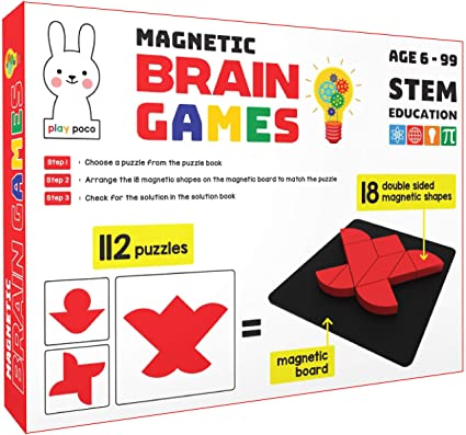Play Poco Magnetic Brain Games - 112 Puzzles Designed to Boost Intelligence - with 18 Double Sided Magnetic Shapes, Magnetic Board, 112 Puzzle Book, 112 Solution Book