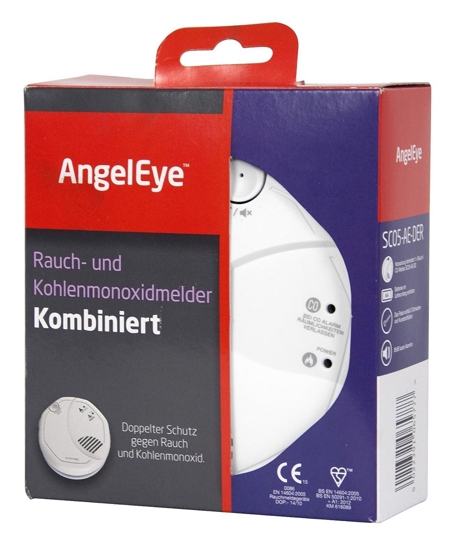 AngelEye- Detector de humo y monóxido de carbono a pilas para uso en espacios domésticos, 1 unidad, color blanco, SCO5-AE-DER