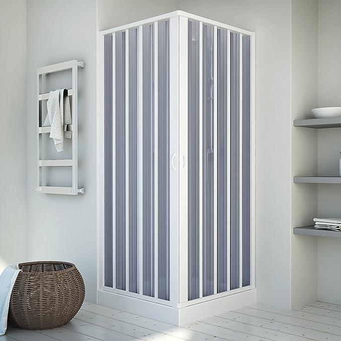 Cabina de ducha | Entrada por la esquina | Puerta sistema | Bari | PVC translúcido | 80 - 60 x 80 - 60 x 185 cm, colour blanco: Amazon.es: Bricolaje y herramientas