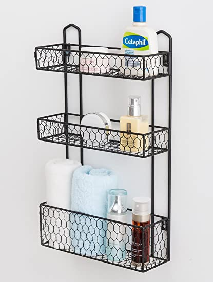 Amazon.com: 3 Tier Rustic Chicken Wire Wall Hanging Bathroom ...