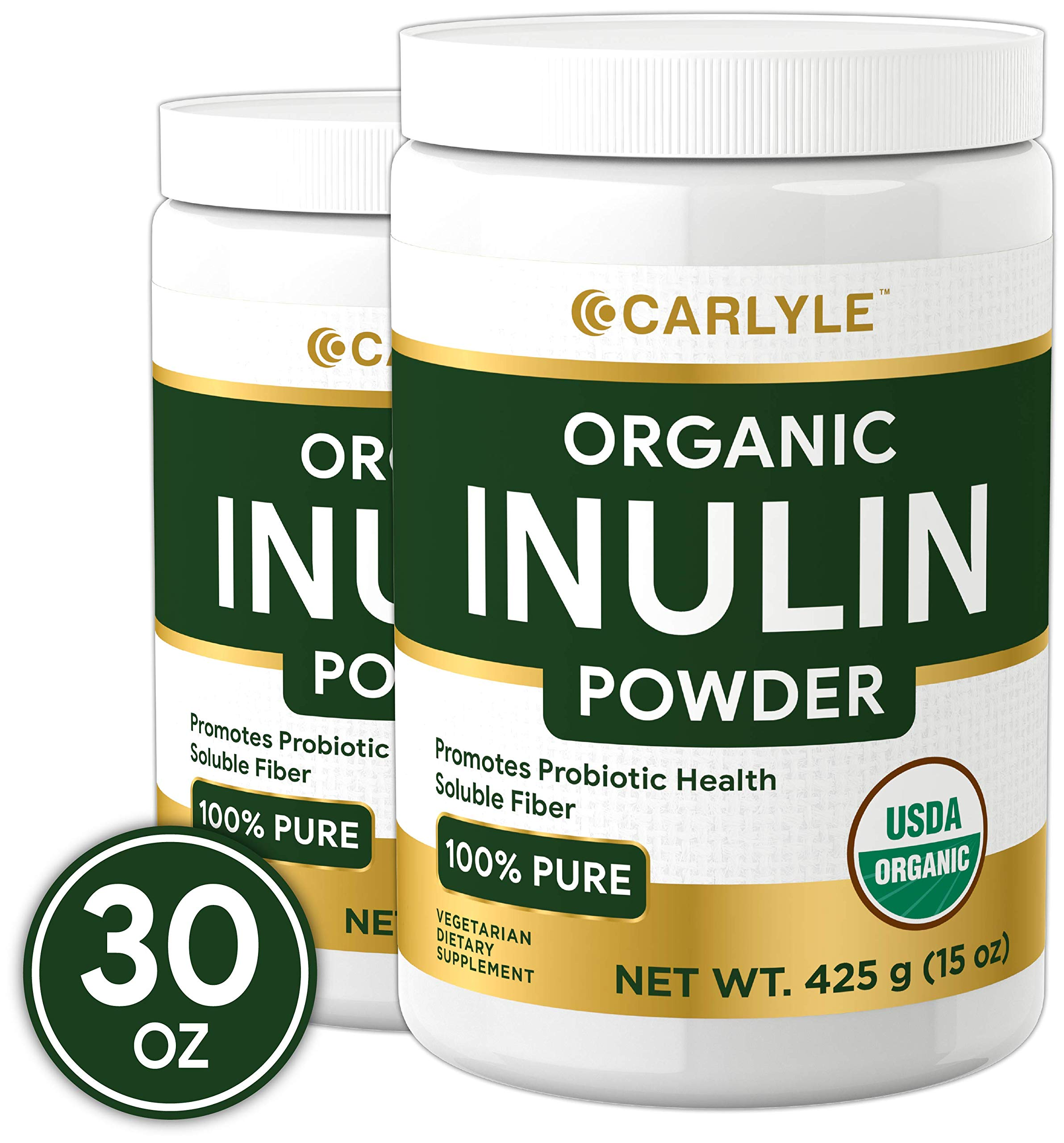 Organic Inulin Powder | 2 x 15 oz Pack | Vegetarian, Non-GMO, Gluten Free | Prebiotic FOS Fiber | Natural Sweetener | from Jerusalem Artichoke | by Carlyle by Carlyle
