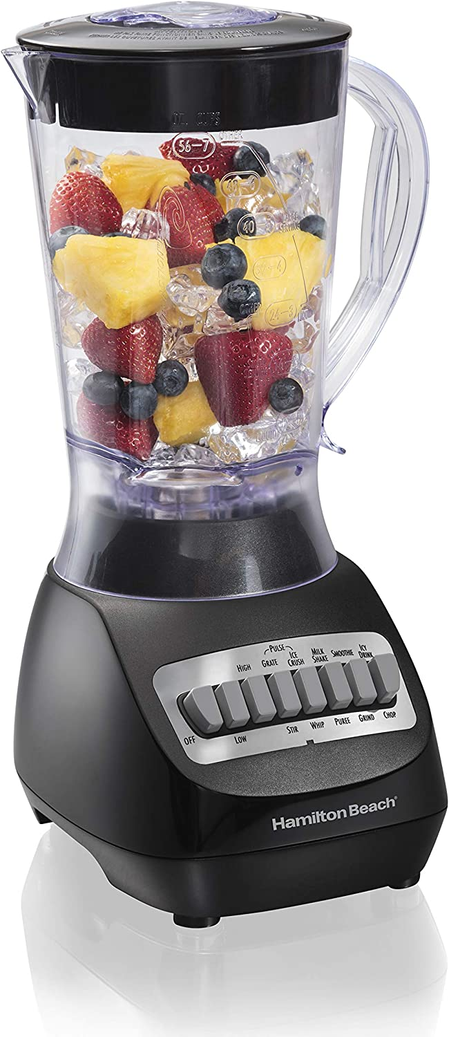 Hamilton Beach 56 Ounce 650W 10 Speed & Pulse Countertop Smoothie Blender, Black