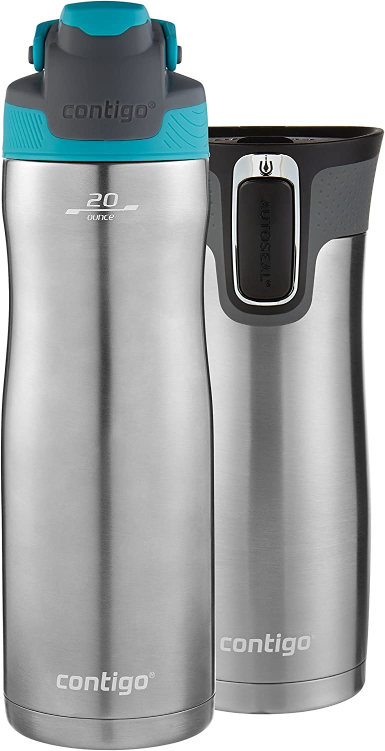 Contigo AUTOSEAL Chill Water Bottle, 20 oz, SS/Scuba & AUTOSEAL West Loop Travel Mug, 16 oz, 2-Pack