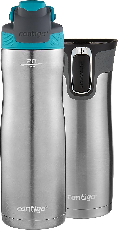 Contigo AUTOSEAL Chill Water Bottle, 20 oz, SS/Scuba & AUTOSEAL West Loop Travel Mug, 16 oz, 2-Pack