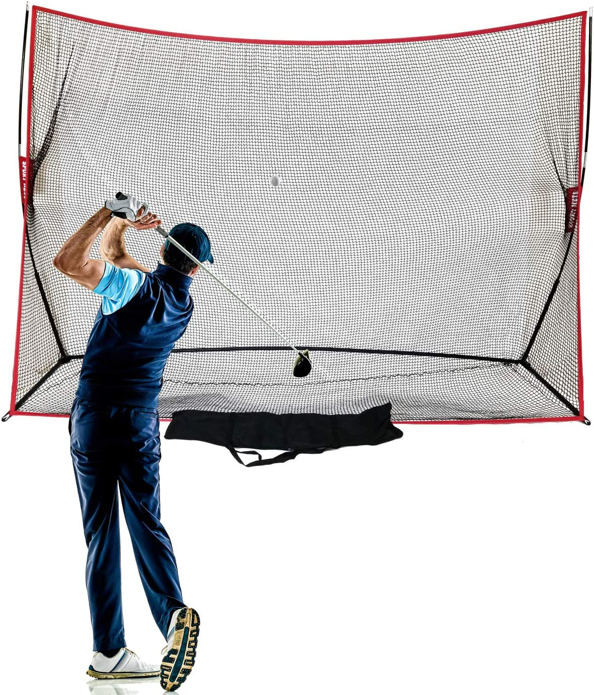 Hit Run Steal Heavy Duty Golf Net 10 X 7 - Perfect Golf Practice Net for Indoor Outdoor Garage Backyard Golf Practice. Golf Hitting Net is A Portable Home Driving Range. Comes W/Carry Bag