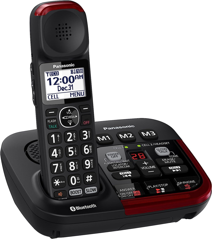 Panasonic kx-tgm430b link2cell Bluetooth Amplificador Teléfono inalámbrico con contestador automático, 1 Terminal, Color Negro: PANASONIC: Amazon.es: Electrónica