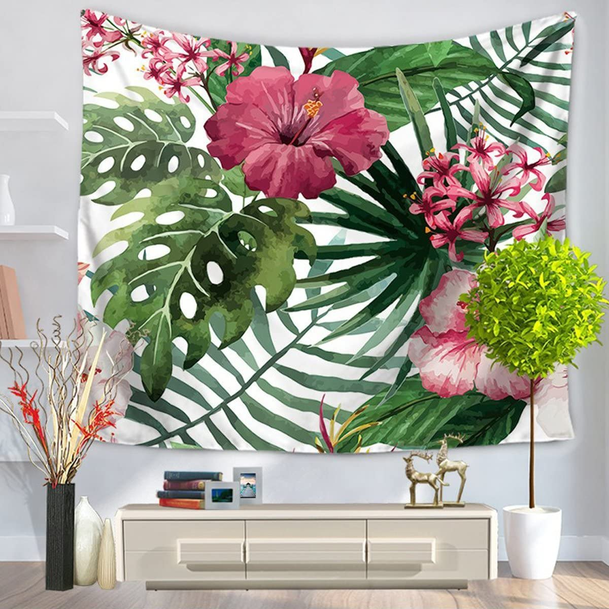 """Watercolor Flower Decor Tapestry Tropical Wild Orchid Flowers With Palm Leaves Print Exotic Style Nature Artwork, Bedroom Living Room Dorm Decor (60""""H x 80""""W, Leaf4)"""