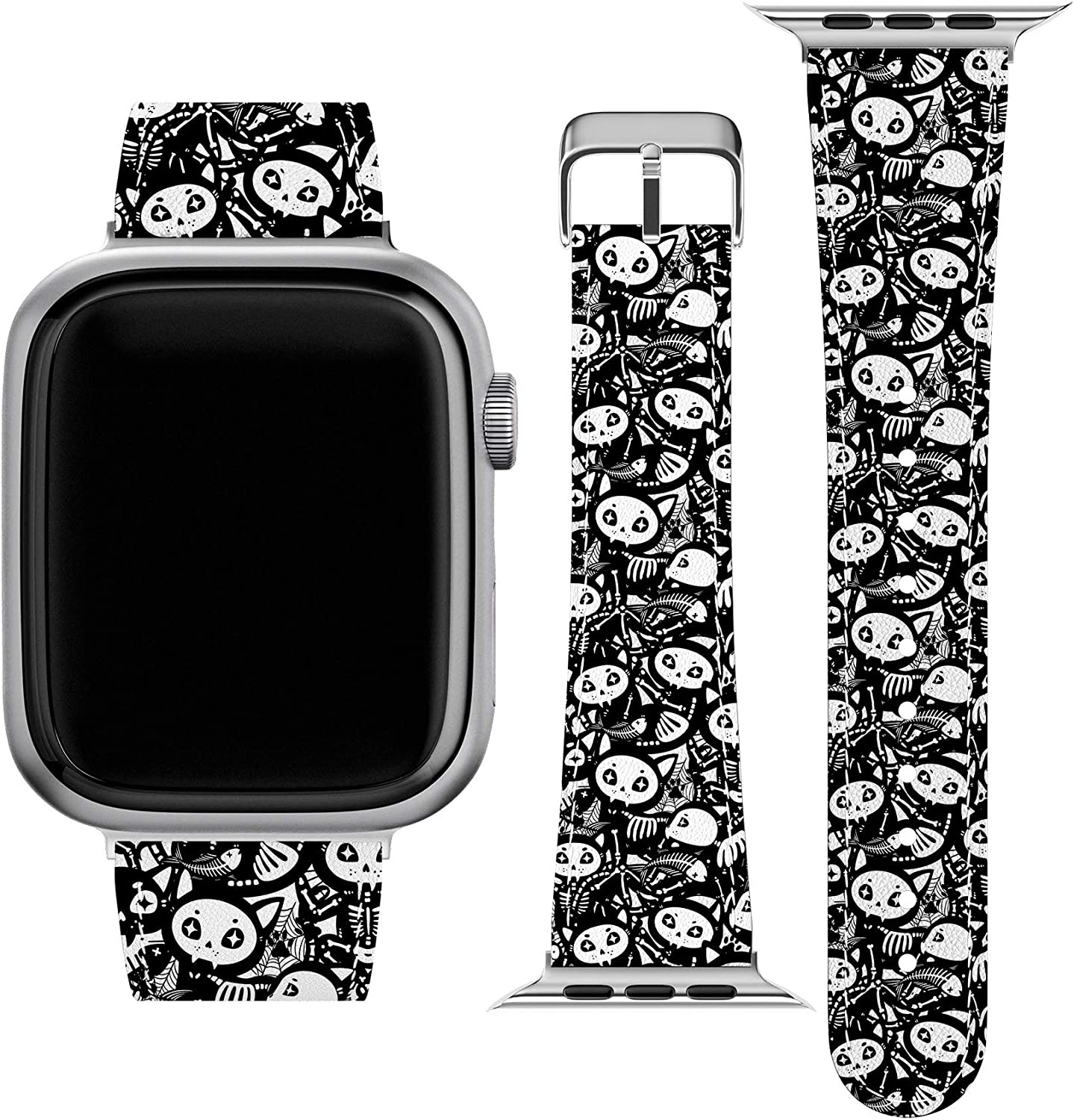 Lex Altern Band Compatible with Apple Watch Series 6 SE 5 4 3 2 1 38mm 40mm 42mm 44mm Halloween Cat Bone Spooky Skeleton Wristband Stylish Replacement Strap for iWatch Goth Cute Vegan Leather wh625