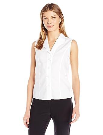 Calvin Klein Women's Sleeveless Wrinkle Free Button Down Shirt, White, ...