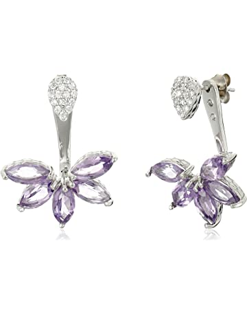 d78ee5c2f Amethyst and Cubic Zirconia Floral Earring Jacket