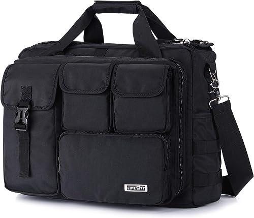Lifewit 17 inch Men s Military Laptop Messenger Bag Multifunction Tactical Briefcase Computer Shoulder Handbags Pilot Bag, Black