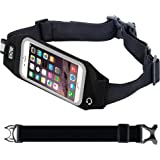"""EOTW Running Belt Waist Pack Bag with Zipper to Hold Cell Phones up to 4.7 inch,Touch Screen Fanny Pack Sport Waist Belt Holder for iPhone 7,6,6s,SE,5s,iPod Touch/,Moto g,x/HTC One m7/Huawei p6, Ascend Y530/Samsung s5 mini Nokia Blu ZTE Running Jogging Walking Hiking Race - 4.7"""" Black"""