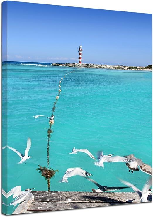 Bilderdepot24 Cuadros en Lienzo Faro en Puerto Morelos Riviera Maya - México 40x50 cm - Enmarcado Listo Bastidor Imagen. Directamente Desde el Fabricante: Amazon.es: Hogar
