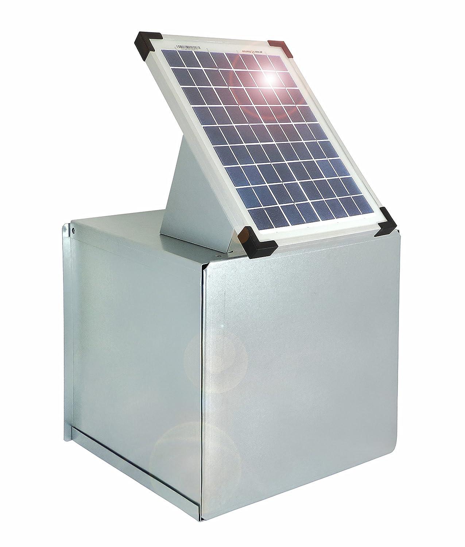 Weidezaun Metall-Tragekasten inkl. 10 Watt Solarpanel für 12V- Weidezaungeräte - Verzinkt - Schützt vor Witterung und schränkt die Sichtbarkeit ein