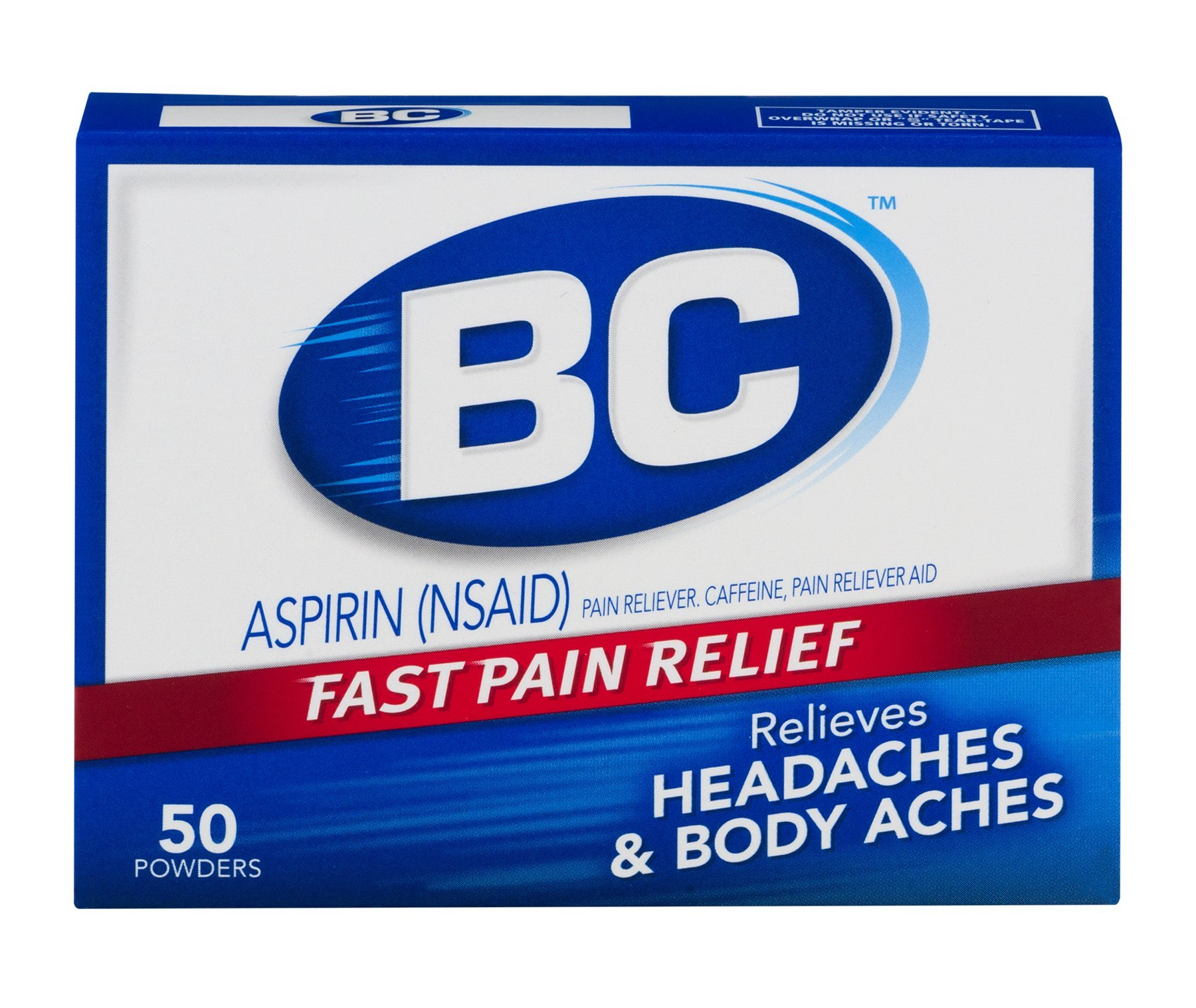 BC Aspirin Fast Pain Relief Powder | Quickly Relieves Pain Due to Headaches, Body Aches, and Fever | Contains Caffeine | 50 Powders | Pack of 6