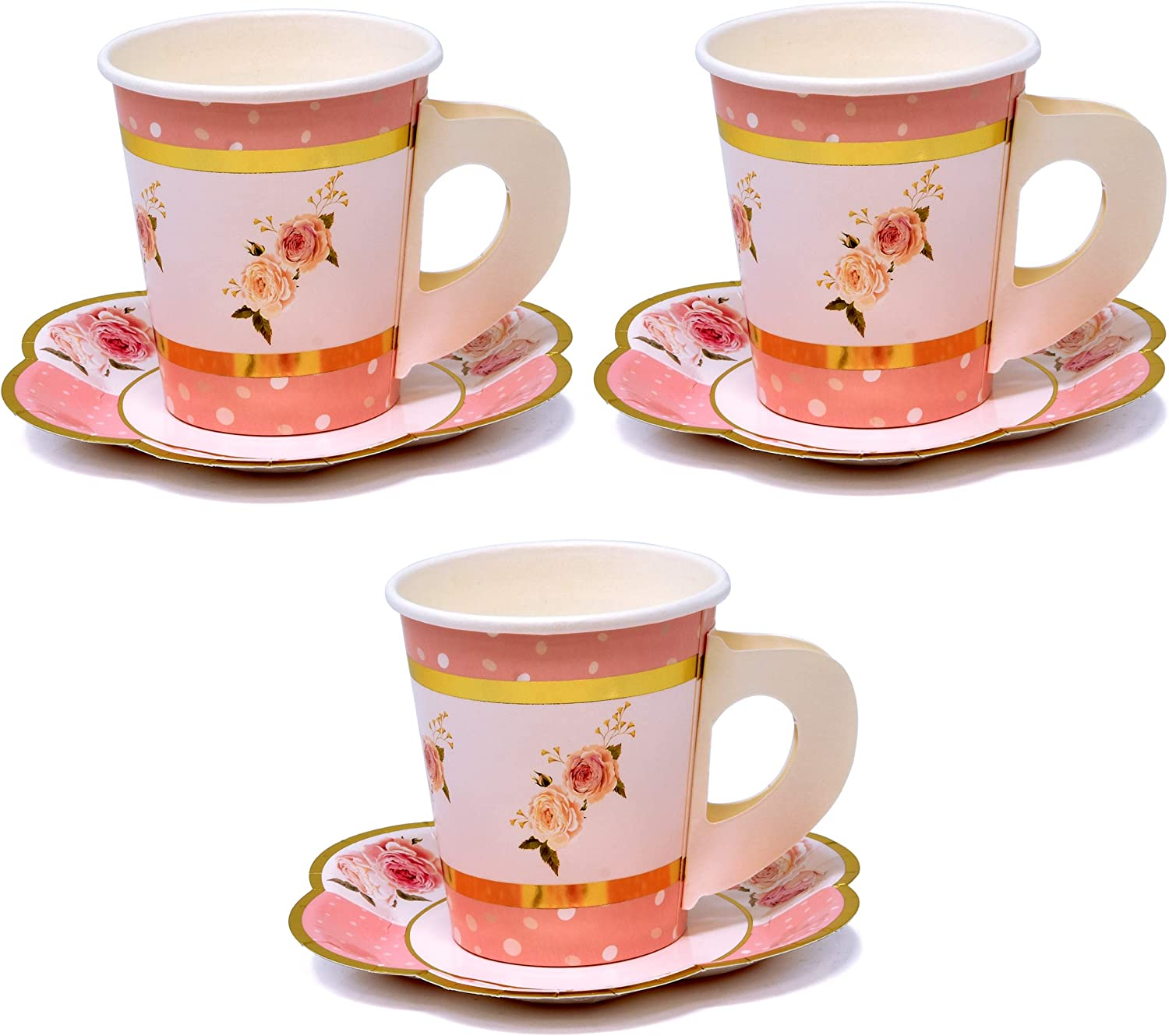 """36 Disposable Tea Party Cups 5 oz 3"""" 36 Saucers 5"""" Paper Floral Shaped Plate Teacup Set with Handle for Kids Girls Mom Coffee Mugs Wedding Birthday Baby Bridal Shower Gold Foil & Pink Table Supplies"""