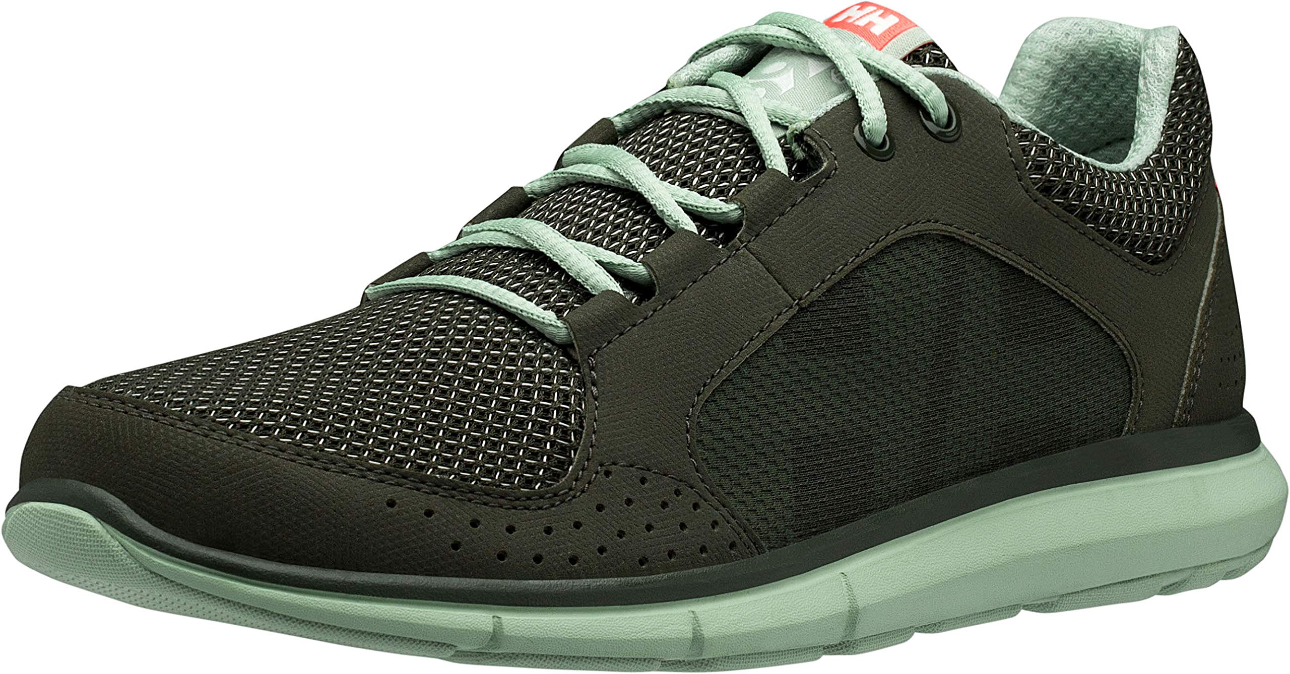 Helly Hansen Women's W Ahiga V3 Hydropower Fashion Sneaker, Forest Night/Cameo Green/Neon Coral, 7 by Helly Hansen