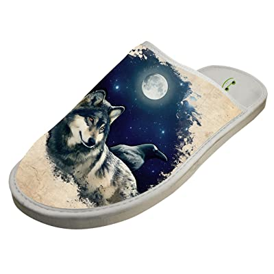 Winter Cotton Wolf Moonlight Antiskid House Slippers Baboosh Indoor Slippers