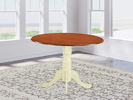 East West Furniture Dlt Bmk Tp Dublin Round Table With Two 9 Drop Leaves In Buttermilk And Cherry Finish Amazon Ca Home Kitchen