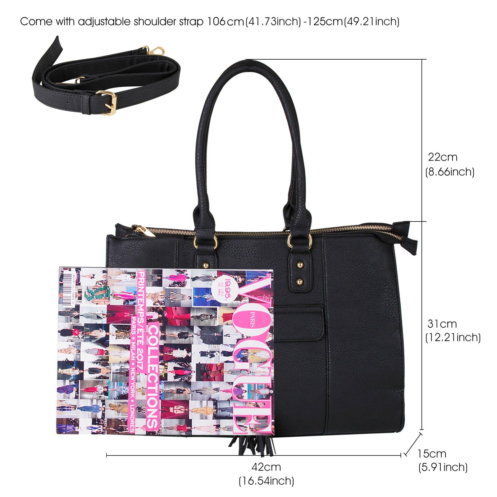 Eva & Evan 2018 New Women Satchel Handbags Shoulder Bag with Tassels Top Handle Large PU Leather Adjustable Strap Black by BAYTTER (Image #7)