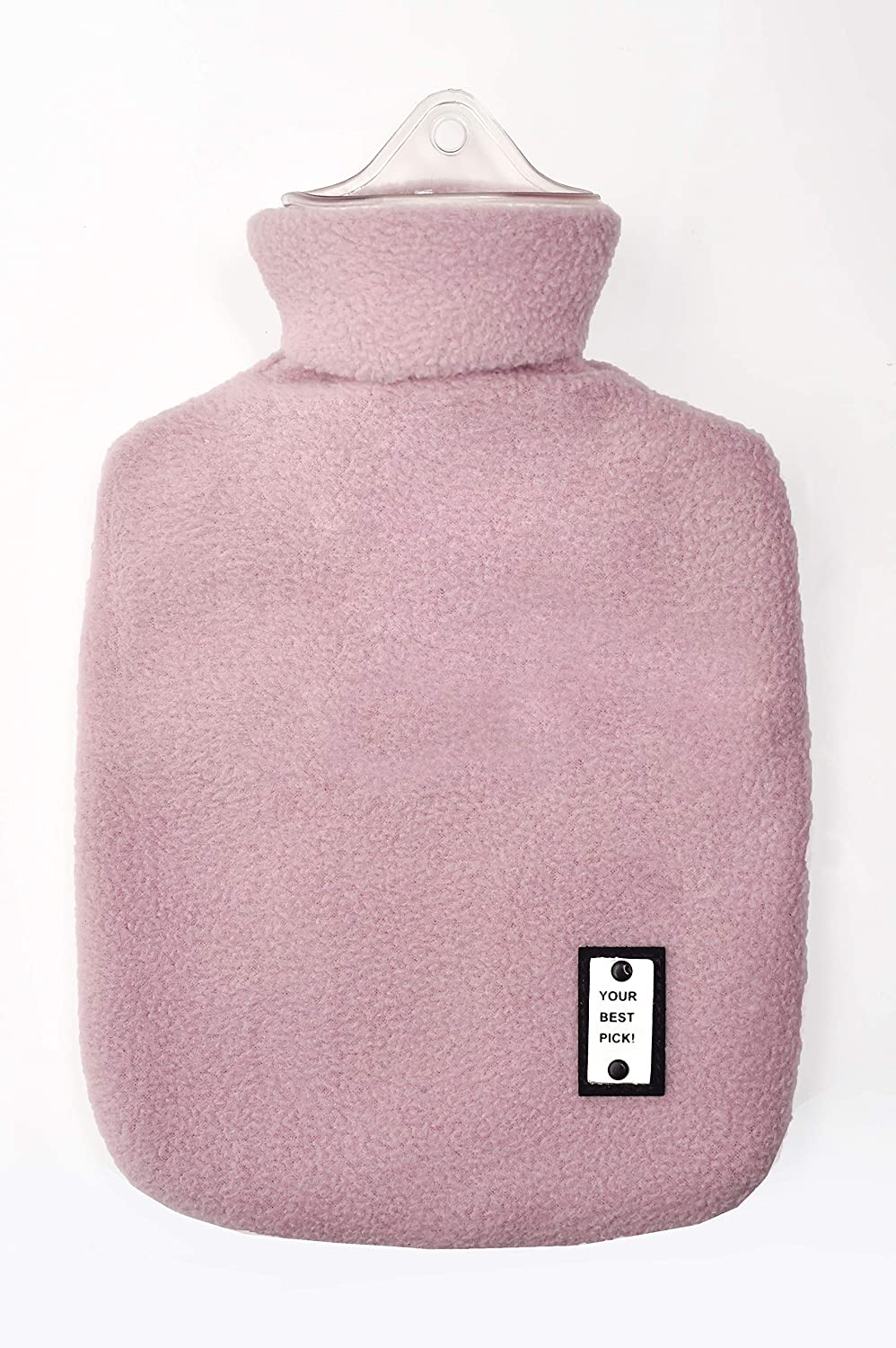 L&L Hot Water Bottle with Fleece 1 Liter hot Water Bag Great for Pain Relief, Hot Compress and Heat Therapy (Purple)
