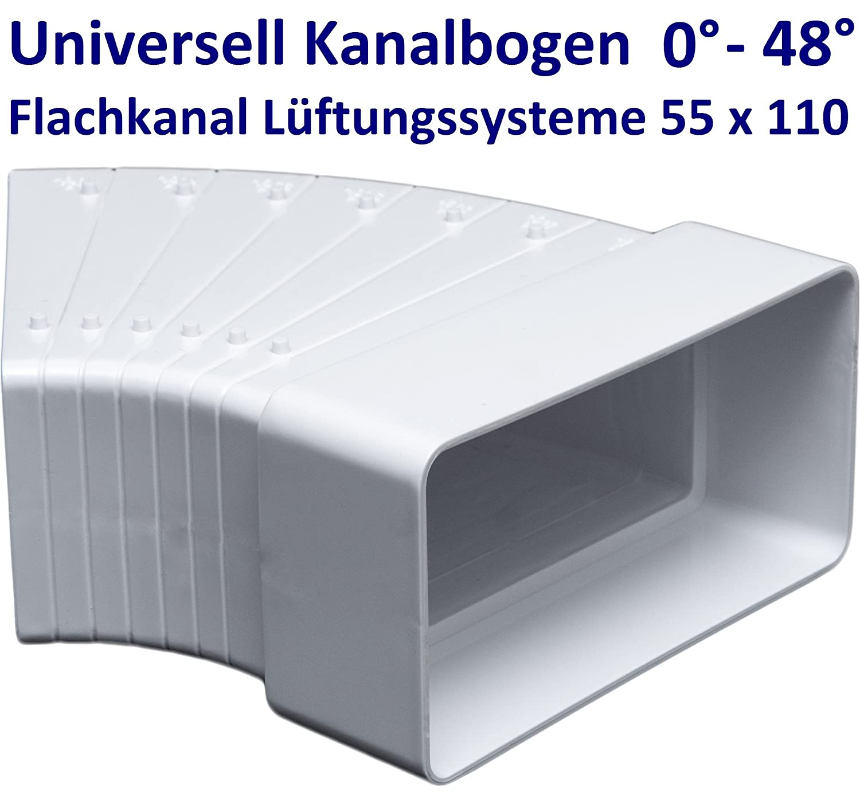 55x110mm Umlenkst/ück vertikal Flach-Kanal eckig Kanalbogen 90/° senkrecht Abluft Luftkanal Kniest/ück Flachkanal Winkel L/üftungsrohr Abluftrohr 90/°