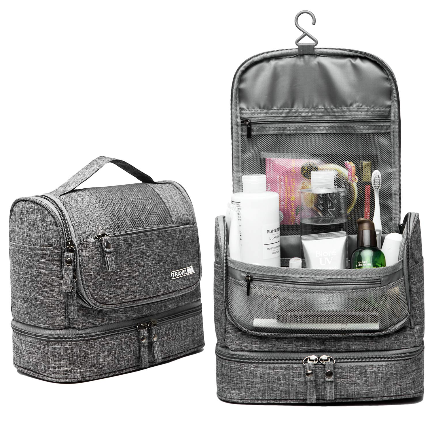 Travel Toiletry Bag, Dry Wet Separation Cosmetic Bag with Hanging Hook – Waterproof Portable Makeup Travel Organizer for Men and Women