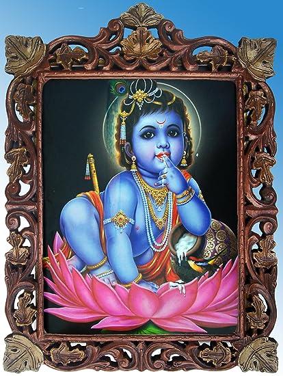 Amazoncom Child Lord Krishna In Lotus Flower Wood Craft Frame