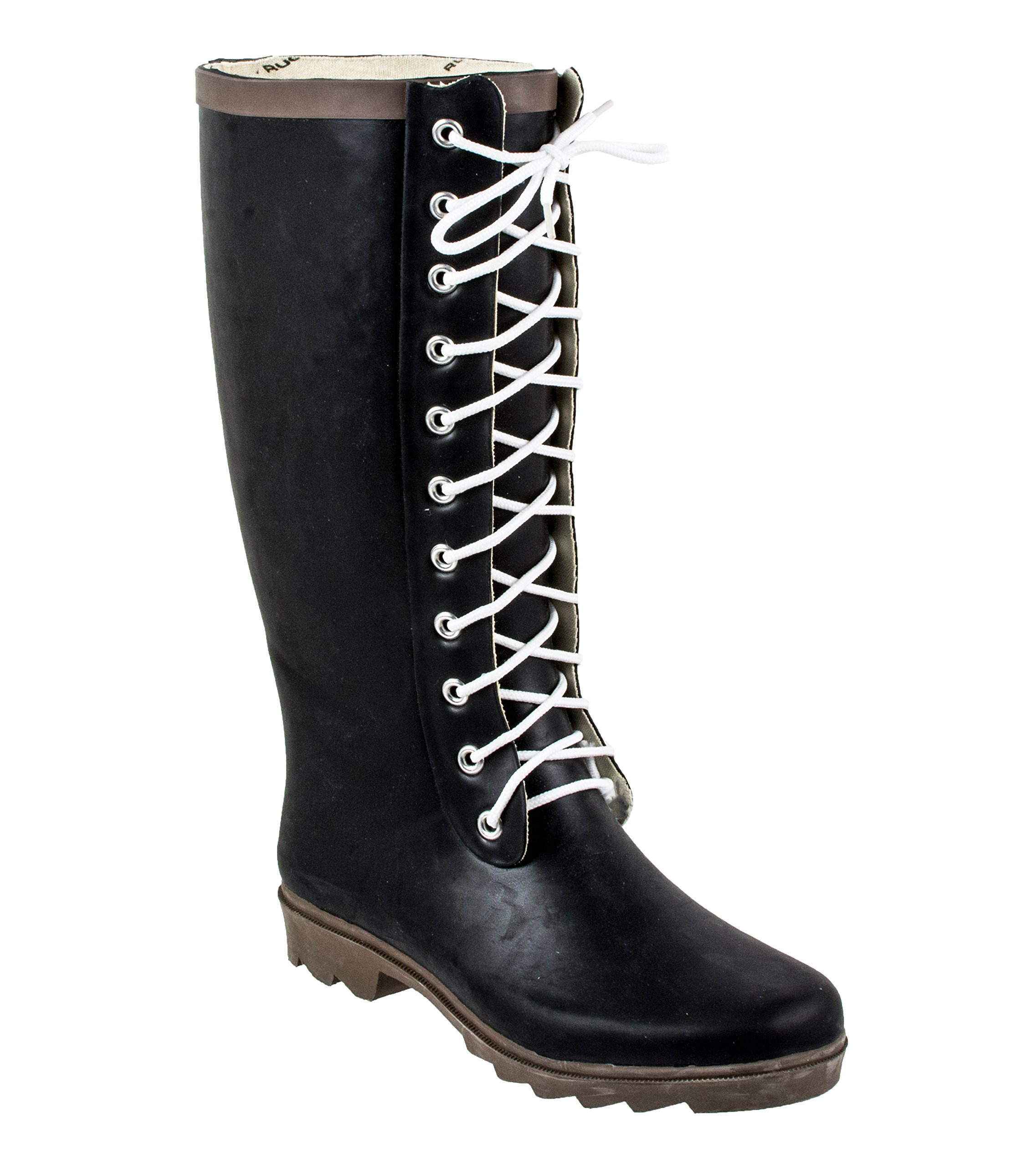 Rugged Shark Ladies Raindears Lace-up Rubber Rain Boots, Black, Size 7