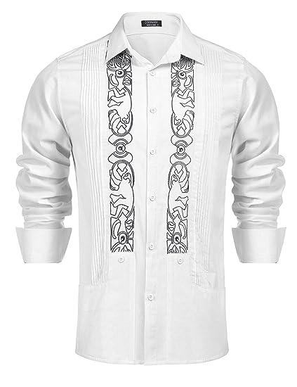 COOFANDY Mens Casual Cotton Linen Button Down Shirt Long Sleeve Embroidered Guayabera Cuban Shirts