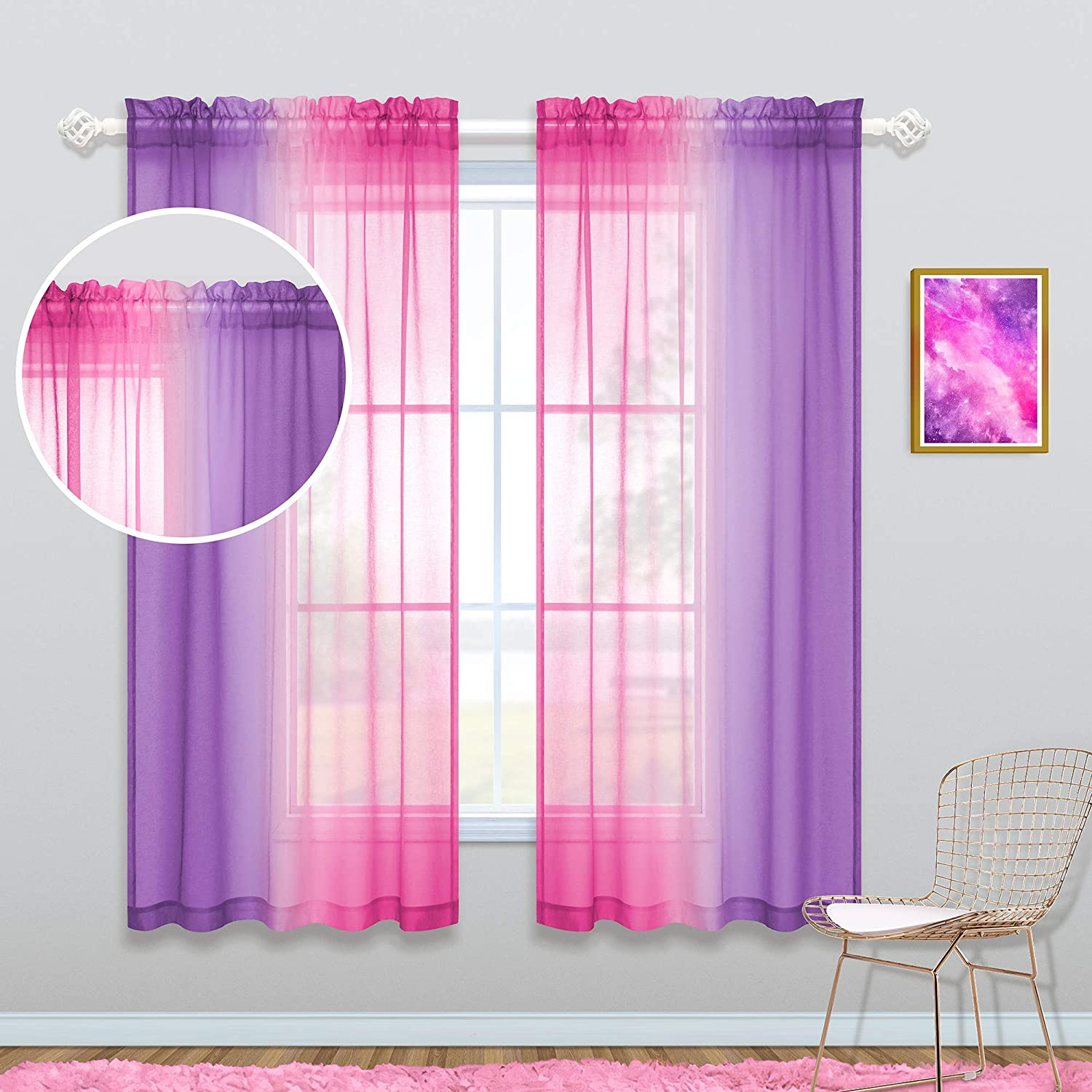 Pink and Purple Curtains 63 Inch Length for Girls Room Decor Set of 2 Panels Window Sheer Ombre Pink Lilac Curtains for Bedroom Decorations