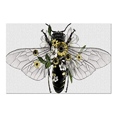 Bee with Open Wings in Black & White with Yellow Flowers 9018137 (Premium 500 Piece Jigsaw Puzzle for Adults, 13x19, Made in USA!): Toys & Games