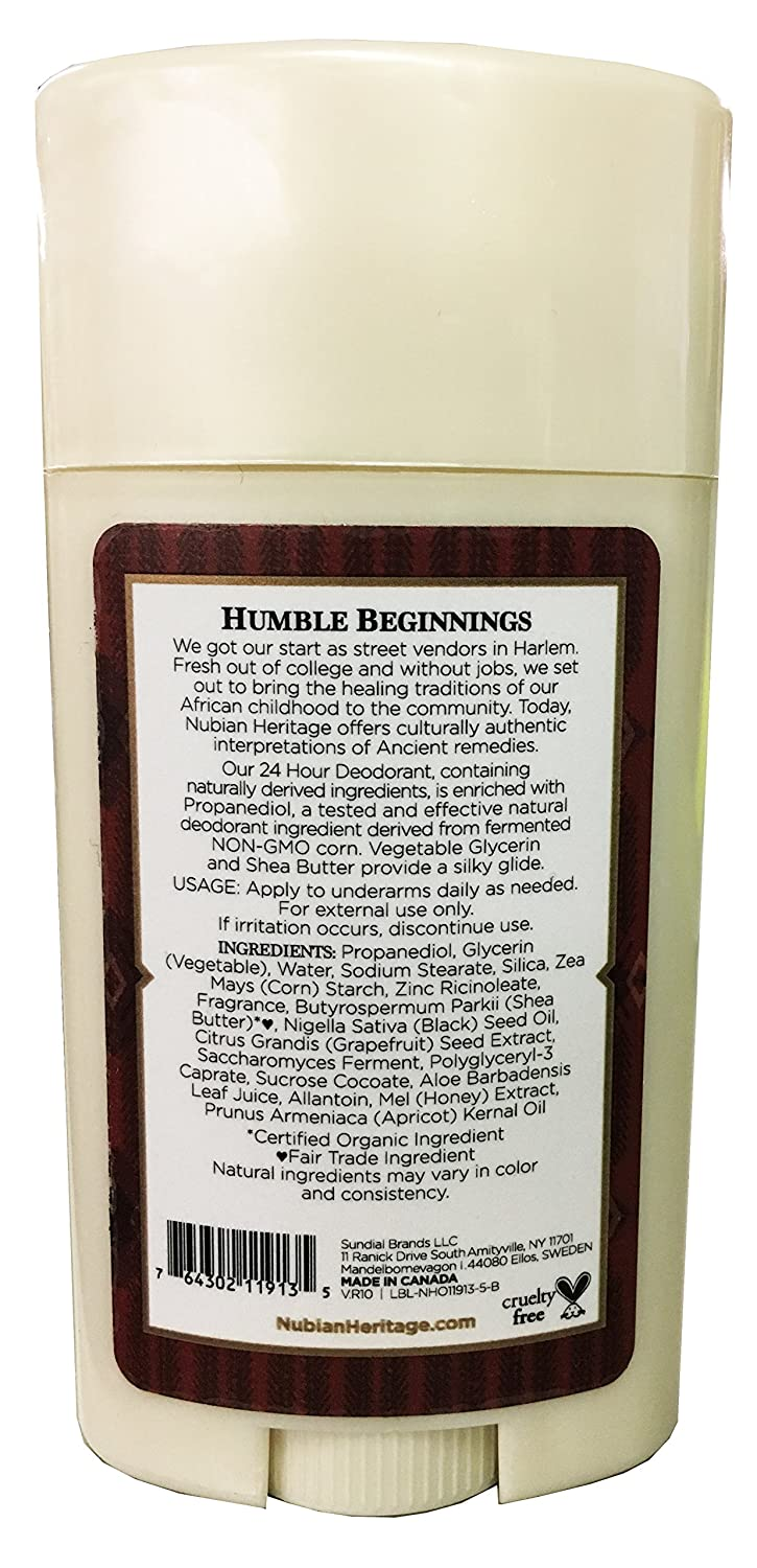 Nubian Heritage Honey and Black Seed Deodorant With Wild Honey, Apricot Oil, Babassu, Carrot and...